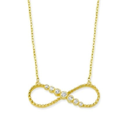 14K Gold Chain with Cubic Zirconia Flowers design