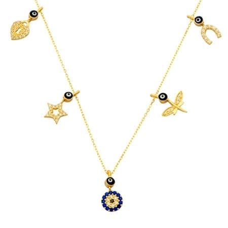 CZ Lucky Pendant on 14k Gold Chain