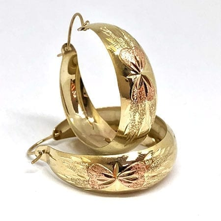 2 Tone Hoop Earring Rose Bow on 14K Yellow Gold