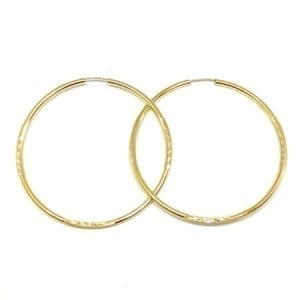 Diamond Cut Hoop Earrings 2.5MM 14K Yellow Gold Wire Lock
