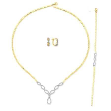 Full Necklace Set in CZ and 14K Gold