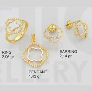 CZ Flower Mini Set on 14k Yellow Gold