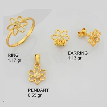 CZ Flower 3 Mini Set on 14k Yellow Gold