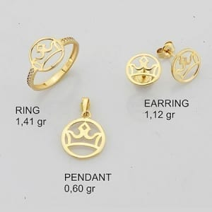 Round Inside Crown Mini Set on 14k Yellow Gold