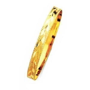 8MM Leaves With Milgrain, High Quality Satin Finish Bangle 14K Yellow Gold