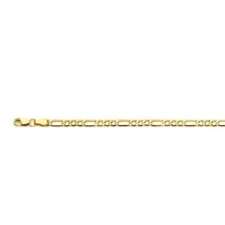 4.4MM 14K Yellow Gold Hollow FIGARO Chain High Quality Finishing