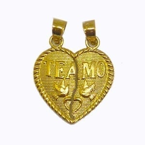 "2 Piece Of Hearts Written ""TE AMO"" With Lovely Doves Pendant 14K Yellow Gold"