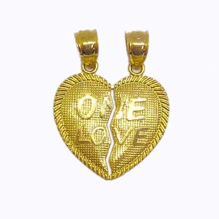 """2 Piece Of Hearts Written """"ONE LOVE"""" Pendant 14K Yellow Gold"""