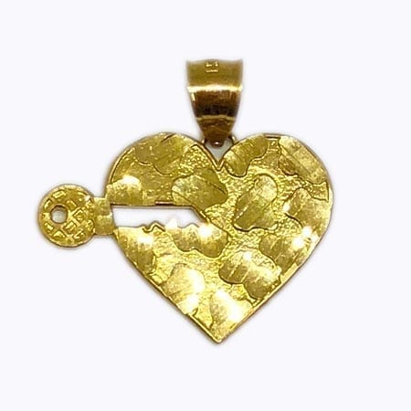 Heart With Key Pendant 14K Yellow Gold