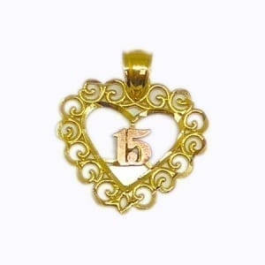 Stunning Design Heart With Rose Gold 15 Anos Pendant 14K Yellow Gold