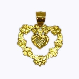 Heart Inside Mini Heart Very Cute Pendant 14K Yellow Gold