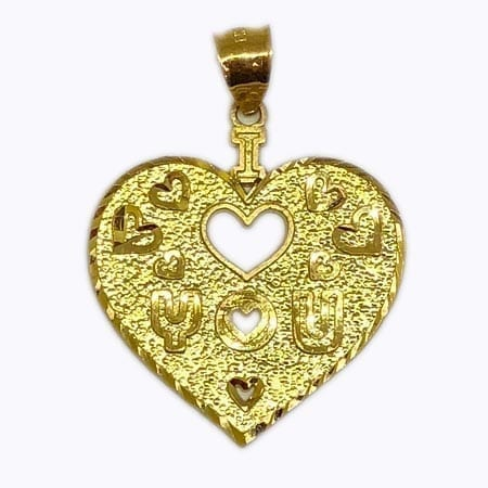 """Heart With Stunning Design """" I LOVE YOU"""" & Around Mini Hearts Pendant 14K Yellow Gold"""