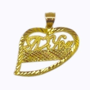 "Different Desing Heart Written ""I LOVE YOU"" Pendant 14K Yellow Gold"