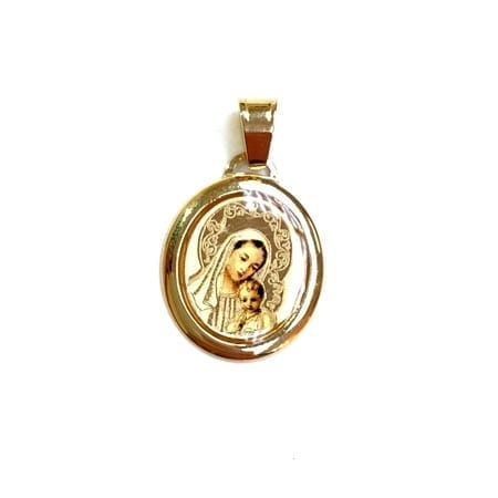 Oval Colored Virgiin Mary & Baby Jesus (Made in Italy) Pendant 14K Yellow Gold