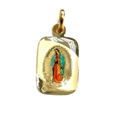 Regtangle Colored Lady Of Guadalupe (Made in Italy) Pendant 14K Yellow Gold