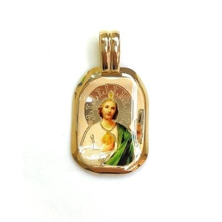 Regtangle Colored  Saint Jude (Made in Italy) Pendant 14K Yellow Gold