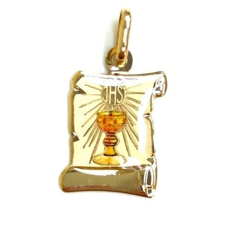 Antique Letter Paper with Colored First Communion (Made in Italy) Pendant 14K Yellow Gold