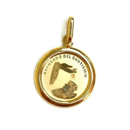 Round Baptism (Made in Italy) Pendant 14K Yellow Gold