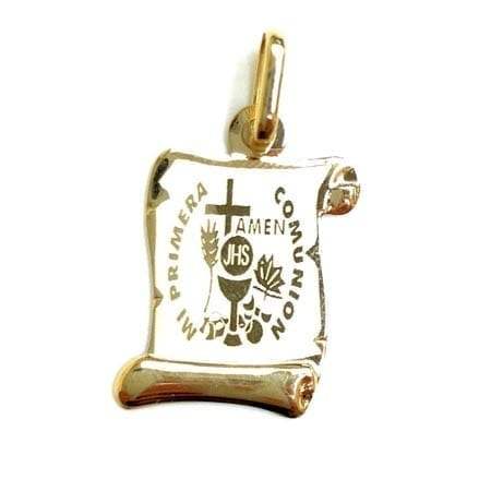 Antique Letter Paper with First Communion (Made in Italy) Pendant 14K Yellow Gold