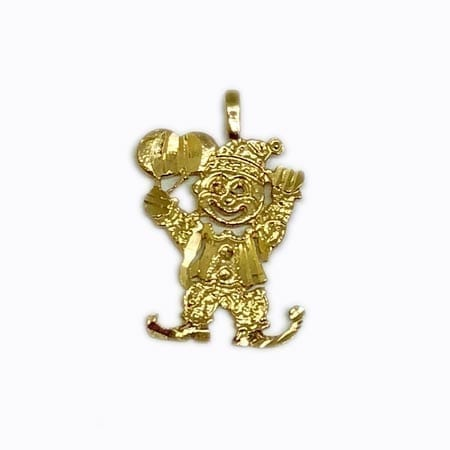 Very Funny Clown With Balloons Pendant 14K Yellow Gold