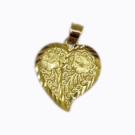 Heart With Stunning Desing Flowers Pendant 14K Yellow Gold