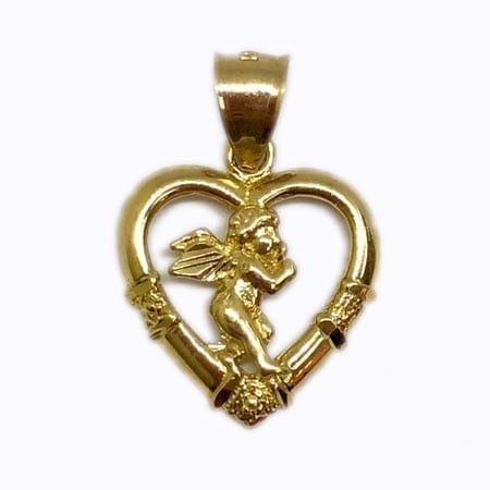 Heart With Angel Pendant 14K Yellow Gold