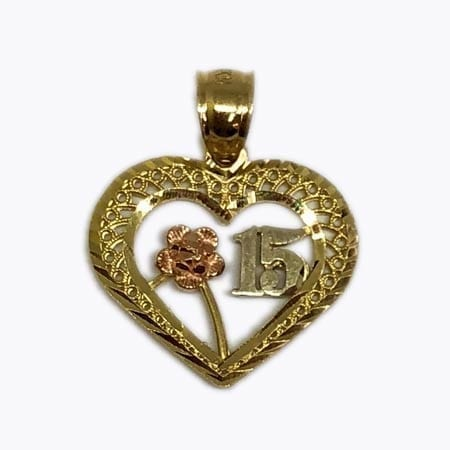 Elegant Design Heart With Rose Gold Flower & White Gold 15 Anos Pendant 14K Yellow Gold