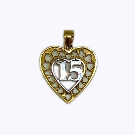Stunning Design Heart With White Gold 15 Anos Pendant 14K Yellow Gold