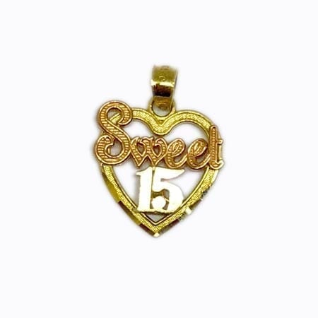 """Heart With Rose Gold """"SWEET"""" & White Gold """"15 Anos"""" Pendant 14K Yellow Gold"""
