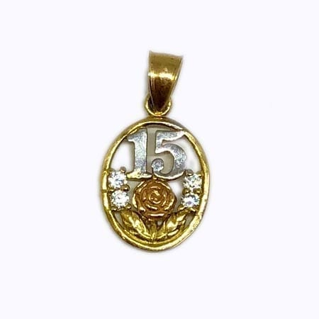 Cubic Zirconia Oval With Rose Gold Flower & White Gold 15 Anos Pendant 14K Yellow Gold