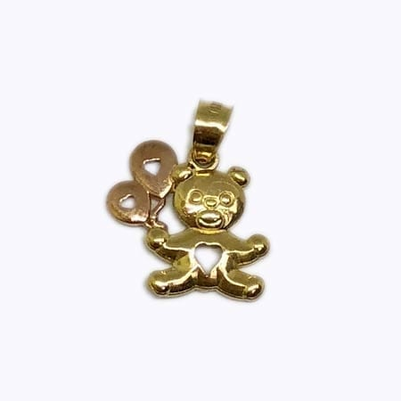 Very Cute Bear With Rose Gold Balloons Pendant 14K Yellow Gold