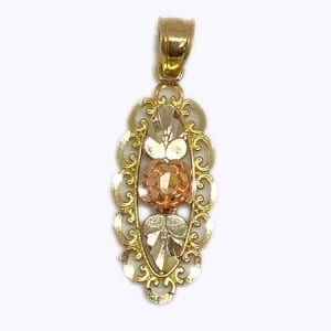 Ornate Oval Floral Design Pendant in 14K Yellow Gold