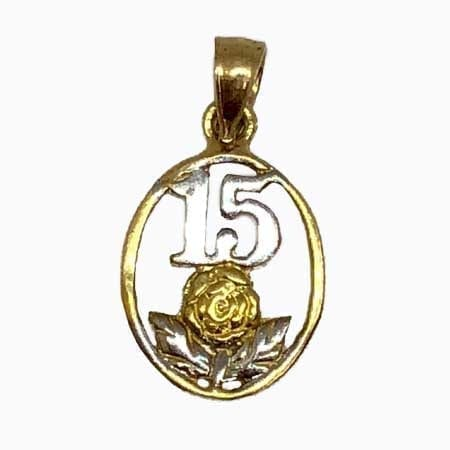 Oval With 2 Tone Flower & White Gold 15 Anos Pendant 14K Yellow Gold