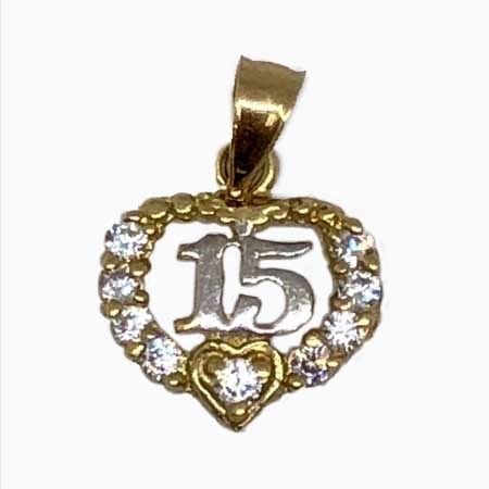 Cubic Zirconia Hearts & White Gold 15 Anos Pendant 14K Yellow Gold