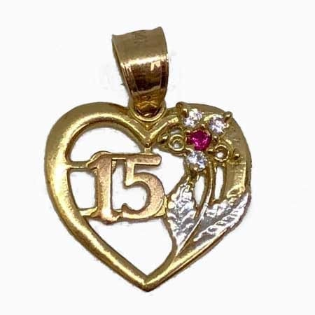 Heart With Cubic Zirconia Flower And Rose Gold 15Anos Pendant 14K Yellow Gold