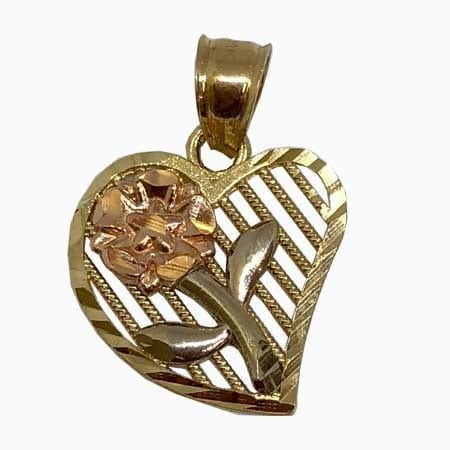 Unique Heart With Rose-White Gold Flower 14K Yellow Gold