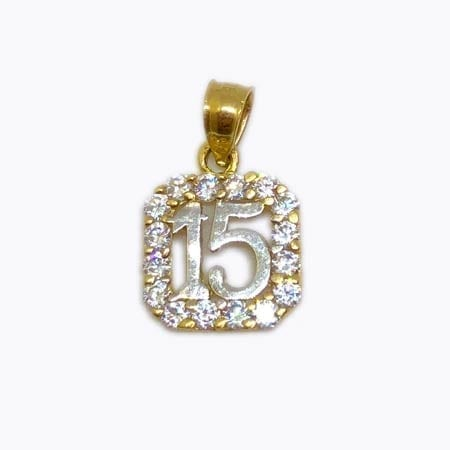 Cubic Zirconia Square With White Gold 15 Anos Pendant 14K Yellow Gold