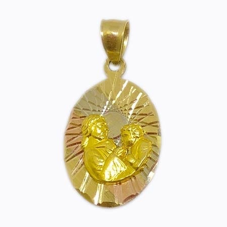 3 Tone Gold With Father & Son Pendant14K Gold