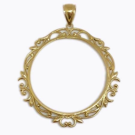 Elegant Design BEZEL Pendant 14K Yellow Gold