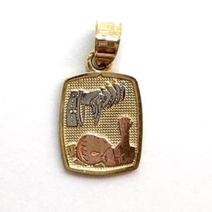 Three-Tone Cute Baby Baptism Pendant 14K Gold