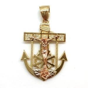 Anchor with Rose Gold Jesus & Flower Pendant 14K Yellow Gold