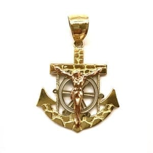 Stunning Design Anchor Yellow-White Gold with Rose Gold Jesus Pendant 14K Gold