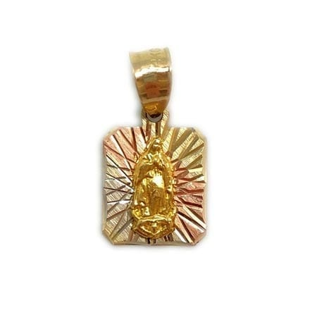 Three-Tone Square Shape with Virgin Mary Pendant 14K Gold