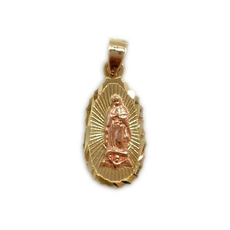 Oval Rose Gold Virgin Mary Pendant 14K Yellow Gold