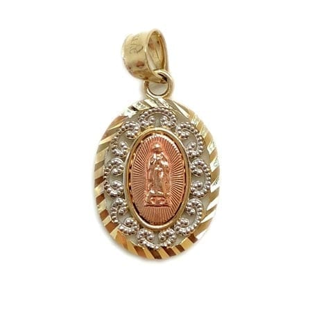 Oval Two-Tone Modern Design with Rose Gold Virgin Mary Pendant 14K Yellow Gold