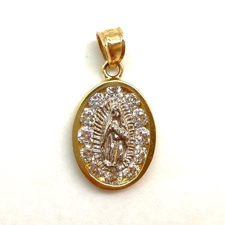 Oval Cubic Zirconia with White Gold Virgin Mary Pendant 14K Yellow Gold