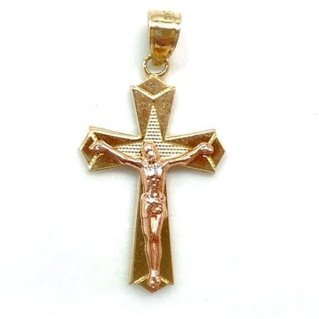 Two-Tone Cross with Jesus Pendant 14K Gold