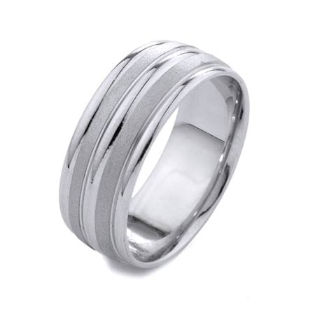 Modern Two Lines Mat Design High Quality Finishing Solid Fashion Wedding Band 14K White Gold 8MM Wide By 1.6MM thick