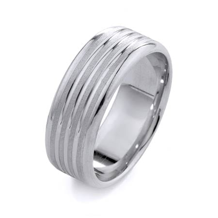 Modern Ribbed Design High Quality Finishing Solid Fashion Wedding Band 14K White Gold 8MM Wide By 1.6MM Thick