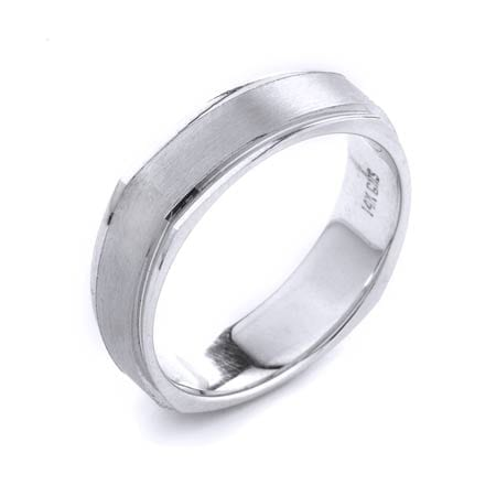 Modern Design High Quality Finishing Solid Fashion Wedding Band 14K White Gold 6MM Wide By 1.6MM Thick